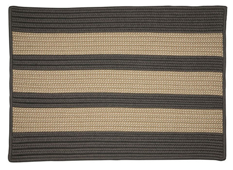 Boat House Indoor Outdoor Braided Rectangle Rug, BT29 Tan & Gray