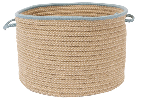 Boat House Indoor Outdoor Round Braided Utility Storage Basket, BT49 Light Blue Border
