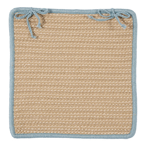 Boat House Indoor Outdoor Square Braided Chair Pad, BT49 Tan & Light Blue