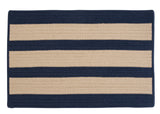 Boat House Indoor Outdoor Braided Rectangle Rug, BT59 Tan & Navy Blue