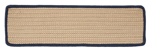 Boat House Indoor Outdoor Rectangle Braided Stair Tread, BT59 Navy Blue