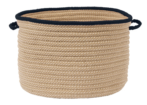 Boat House Indoor Outdoor Round Braided Utility Storage Basket, BT59 Navy Blue Border