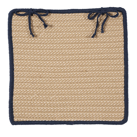 Boat House Indoor Outdoor Square Braided Chair Pad, BT59 Tan & Navy Blue
