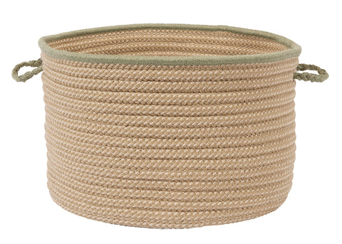 Boat House Indoor Outdoor Round Braided Utility Storage Basket, BT69 Olive Green Border