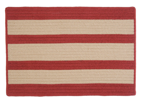 Boat House Indoor Outdoor Braided Rectangle Rug, BT79 Tan & Rust Red