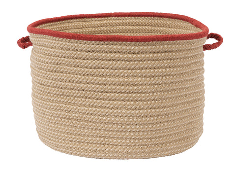 Boat House Indoor Outdoor Round Braided Utility Storage Basket, BT79 Rust Red Border