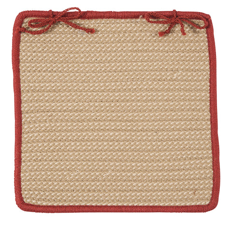 Boat House Indoor Outdoor Square Braided Chair Pad, BT79 Tan & Rust Red