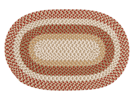 The Colonist Indoor Outdoor Oval Braided Rug, BU75 Red Barron