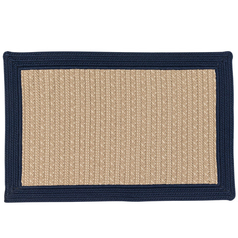 Bayswater Indoor Outdoor Braided Rectangle Rug, BY53 Natural with Navy Border