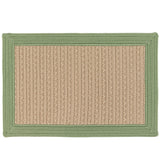 Bayswater Indoor Outdoor Braided Rectangle Rug, BY63 Natural with Moss Green Border