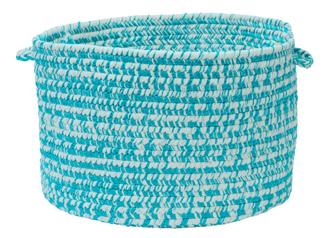 Catalina Indoor Outdoor Round Braided Utility Storage Basket, CA19 Aquatic