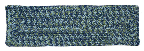 Catalina Indoor Outdoor Rectangle Braided Stair Tread, CA49 Deep Sea