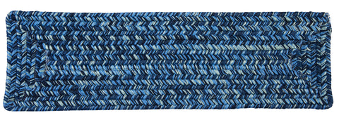 Catalina Indoor Outdoor Rectangle Braided Stair Tread, CA59 Blue Wave