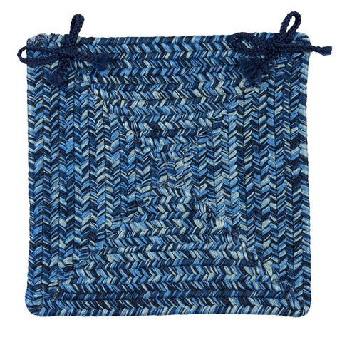 Catalina Indoor Outdoor Braided Square Chair Pad, CA59 Blue Wave