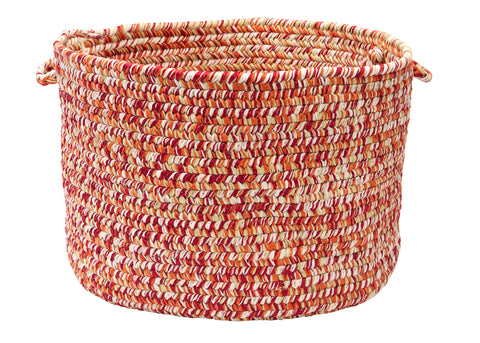 Catalina Indoor Outdoor Round Braided Utility Storage Basket, CA79 Fireball
