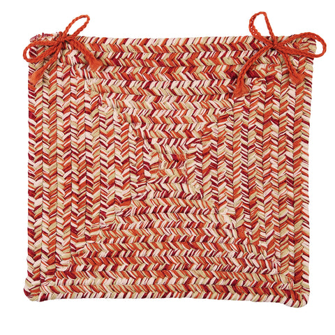Catalina Indoor Outdoor Braided Square Chair Pad, CA79 Fireball
