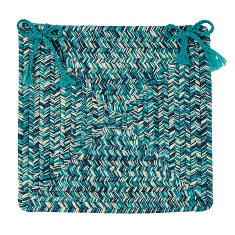 Catalina Indoor Outdoor Braided Square Chair Pad, CA99 Blue Lagoon
