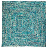 Catalina Indoor Outdoor Square Braided Rug, CA99 Blue Lagoon