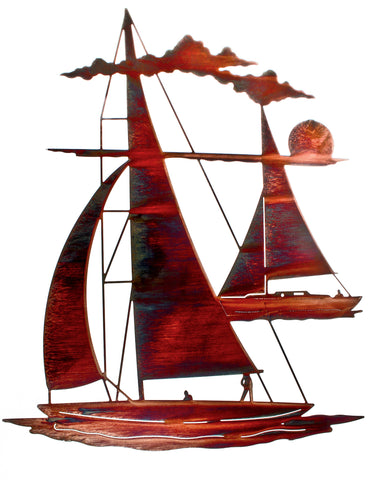 Sailboats at Sunset Metal Wall Art