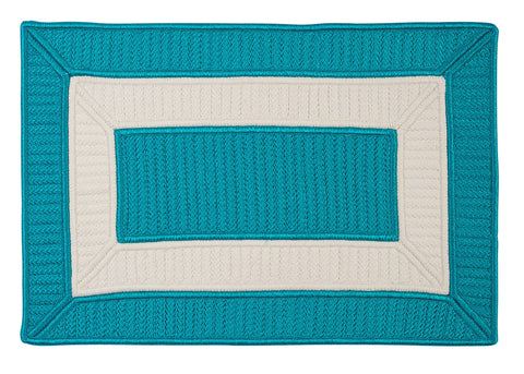 Rope Walk Indoor Outdoor Braided Rectangle Rug, CB92 Turquoise