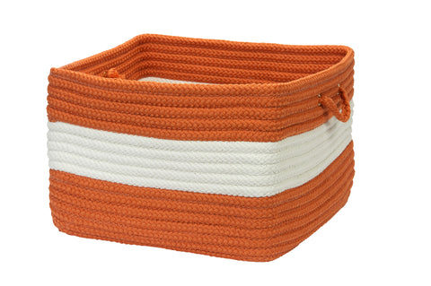 Rope Walk Indoor Outdoor Braided Square Utility Storage Basket, CB93 Rust