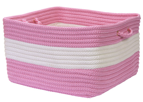 Rope Walk Indoor Outdoor Braided Square Utility Storage Basket, CB94 Camerum Bright Pink