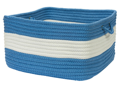 Rope Walk Indoor Outdoor Braided Square Utility Storage Basket, CB95 Blue Ice