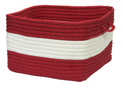 Rope Walk Indoor Outdoor Braided Square Utility Storage Basket, CB97 Red