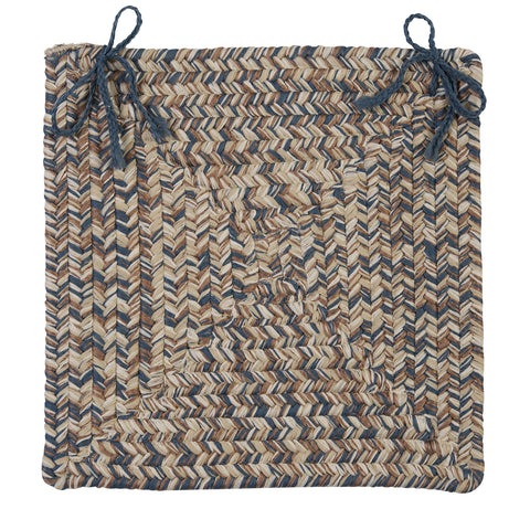 Corsica Indoor Outdoor Square Braided Chair Pad, CC49 Lake Blue