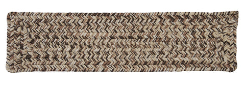 Corsica Indoor Outdoor Rectangle Braided Stair Tread, CC99 Weathered Brown