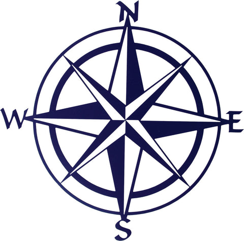 Compass Rose Metal Wall Art in Blue
