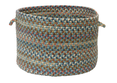 Cedar Cove Round Braided Basket, CV29 Light Blue