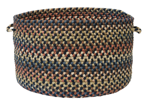 Cedar Cove Round Braided Basket, CV59 Navy