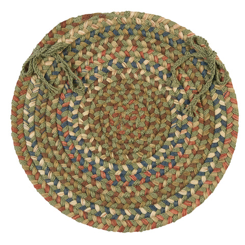 Cedar Cove Round Braided Chair Pad, CV69 Olive