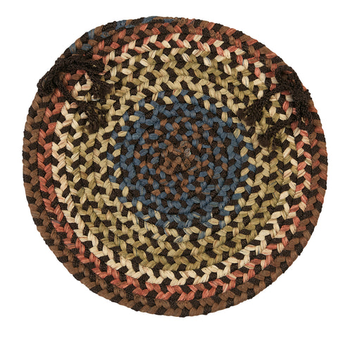 Cedar Cove Round Braided Chair Pad, CV89 Dark Brown