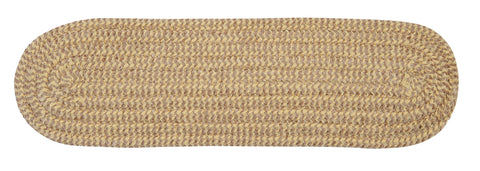 Softex Check Indoor Outdoor Oval Braided Stair Tread, CX13 Pale Banana & Tan