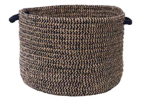 Softex Check Indoor Outdoor Round Braided Utility Storage Basket, CX15 Navy Blue & Tan
