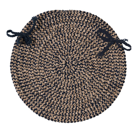 Softex Check Indoor Outdoor Round Braided Chair Pad, CX15 Navy Blue & Tan