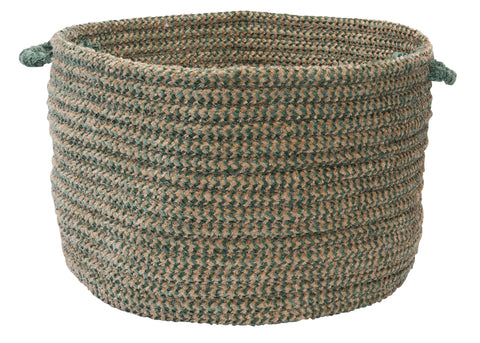 Softex Check Indoor Outdoor Round Braided Utility Storage Basket, CX16 Myrtle Green & Tan