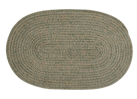 Softex Check Indoor Outdoor Oval Braided Rug, CX16 Myrtle Green & Tan