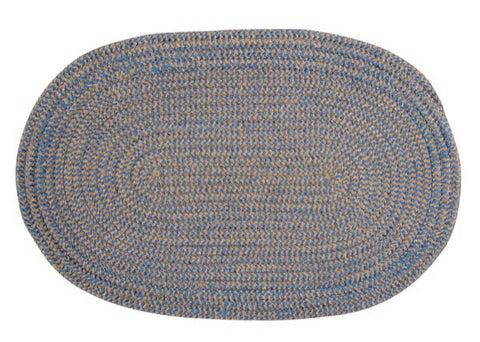 Softex Check Indoor Outdoor Oval Braided Rug, CX25 Blue Ice & Tan
