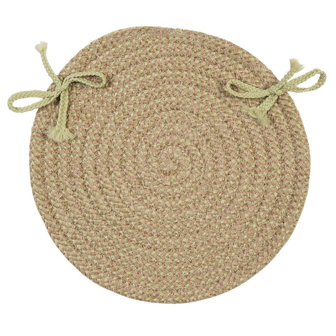Softex Check Indoor Outdoor Round Braided Chair Pad, CX26 Celery Green & Tan