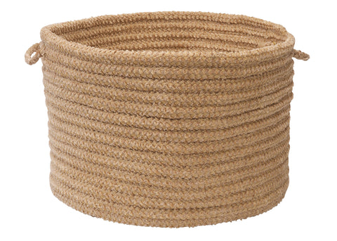 Softex Check Indoor Outdoor Round Braided Utility Storage Basket, CX28 Buff & Tan