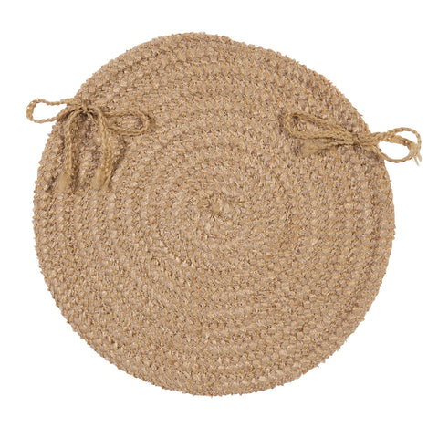 Softex Check Indoor Outdoor Round Braided Chair Pad, CX28 Buff & Tan