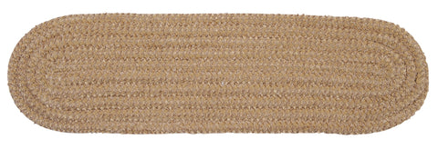Softex Check Indoor Outdoor Oval Braided Stair Tread, CX28 Buff & Tan