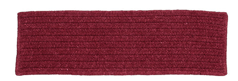 Courtyard Rectangle Braided Wool Blend Stair Tread, CY62 Sangria