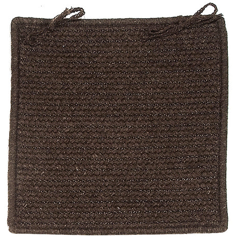 Courtyard Square Braided Wool Blend Chair Pad, CY64 Cocoa