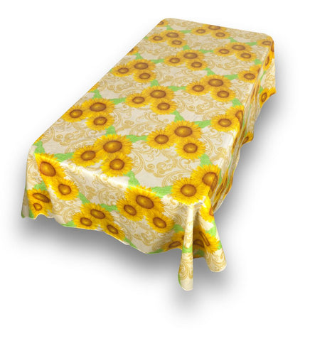 Sunflowers Vinyl Tablecloth with Flannel Backing in 2 Sizes