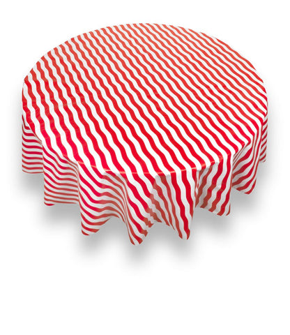 "Red Bold Stripe 70"" Round Vinyl Tablecloth with Flannel Backing"