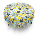 "Retro Garden 70"" Round Vinyl Tablecloth with Flannel Backing"